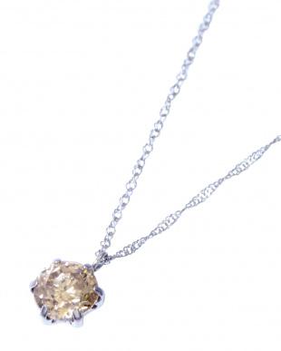 Pt 天然ダイヤモンド 0.7ct シャンパンカラー 6本爪ネックレスを見る