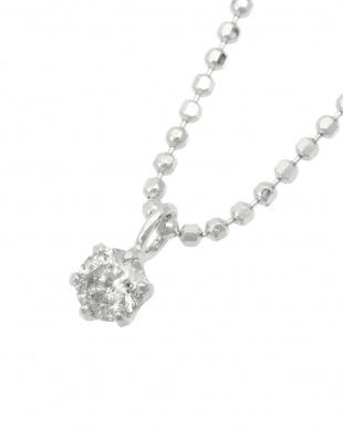 Pt999 純プラチナ 天然ダイヤモンド 0.1ct  6本爪ネックレス(チェーンSV)を見る