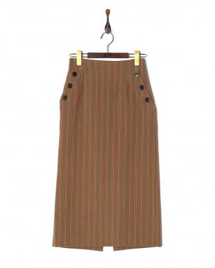 ベージュ柄 ストライプサイドボタンタイトスカートを見る