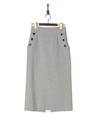 L/グレー柄 ストライプサイドボタンタイトスカートを見る