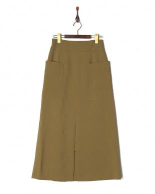 カーキグリーン リネンライクパッチポケット前スリットスカートを見る