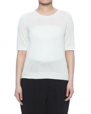 オフホワイト シルク100% UVカット加工 ニット5分袖プルオーバーを見る
