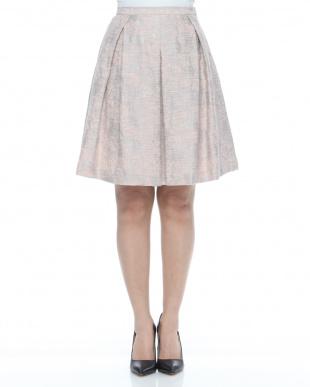 グレイッシュピンク系 イタリア製生地 フラワー柄ジャカードスカートを見る