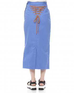 BLUE COTTON TWILL LACE UP SKIRTを見る