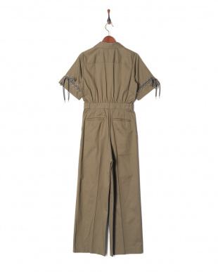 GREY TWILL LACE UP JUMPSUITを見る