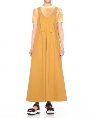 YELLOW TWILL LACE UP PINAFORE DRESSを見る