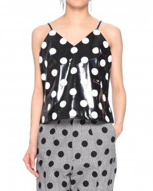 BLACK POLKA DOT PATENT LEATHER CAMI TOPを見る