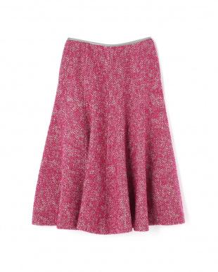 ピンク ループツィードフレアスカート アドーアを見る