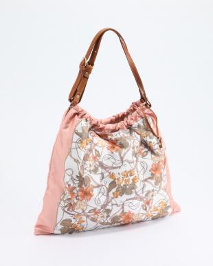 54-ピンク スカーフ柄ギャザートートバッグ 日本製を見る