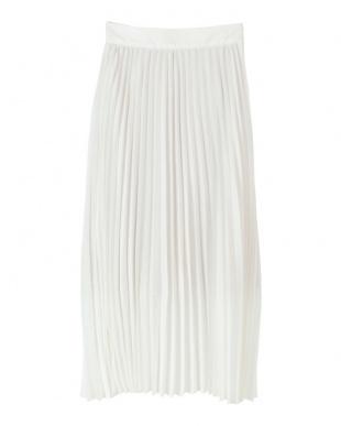 ホワイト プリーツロングスカートを見る