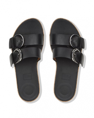 BLACK DUO-BUCKLE SLIDE SANDALS - LEATHERを見る