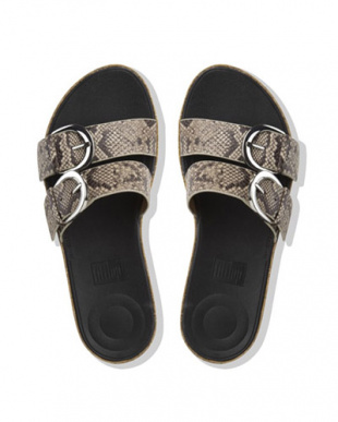 N/SNAK DUO-BUCKLE SLIDE SANDALS- SNAKE-PRINT LEATHERを見る