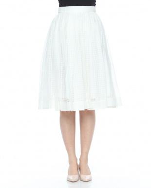 ベージュ 裾切替フレアスカートを見る