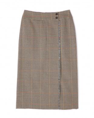 ベージュ系 ◆ウールチェックグミ加工ストレートスカート ヒューマン ウーマンを見る