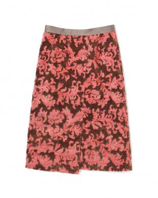 ピンク ペイズリージャカードラップスカート アッシュスタンダードを見る