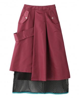 ボルドー メッシュレイヤードスカート UN3D.を見る