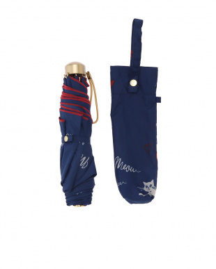 ネイビー 晴雨兼用 折りたたみ傘 ポージングキャットを見る