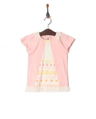 濃ピンク フルーツプリントTシャツを見る