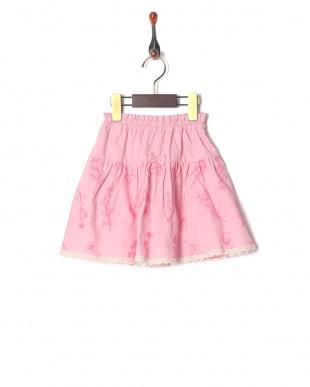 ピンク シャンブレー総刺繍スカートを見る