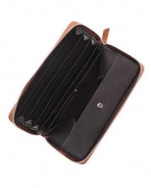 キャメル  カイマンワニ革&牛革クロコ型押しラウンドファスナー長財布を見る