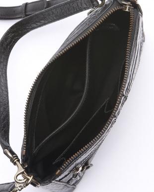 ブラック  カイマンワニ革&牛革クロコ型押し2WAYショルダーバッグを見る
