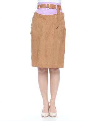 パープル バイカラータイトスカートを見る