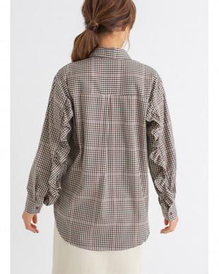 パープル [LUXE]フリル袖パープルチェックシャツを見る