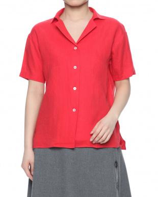 ピンク レディース半袖オープンカラーシャツを見る
