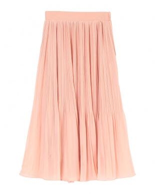 ピンクベージュ ランダムプリーツスカートを見る