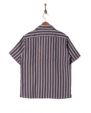 ブラウン リネンコットンストライプ半袖シャツを見る