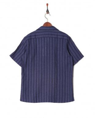 ネイビー リネンコットンストライプ半袖シャツを見る