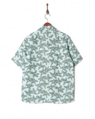 グリーン リネンプリント半袖シャツを見る