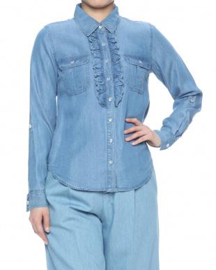 ブルー  テンセルデニムフリルシャツを見る