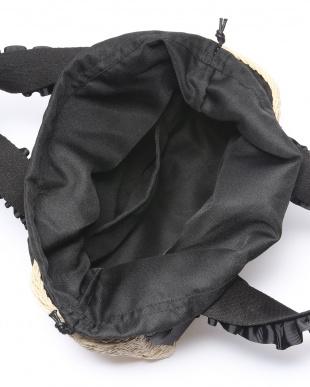 Beige シャーリングリボンハンドル雑材トートバッグを見る