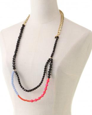 ピンク系 インド製ガラスビーズネックレスを見る