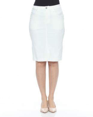 白 綿レーヨンストレッチスカートを見る