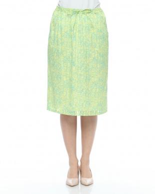 黄色 フラワーptサテンストライプスカートを見る