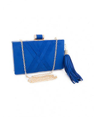 ブルー 結婚式・お呼ばれ対応 タッセル付きスクエアクラッチバッグを見る