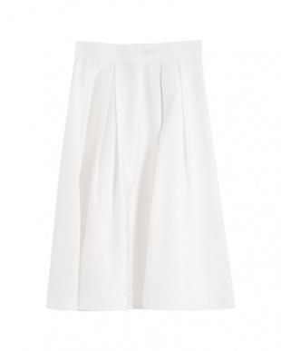 ホワイト  ミモレ丈ボリュームフレアスカートを見る