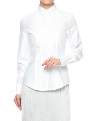 ホワイト  フロントピンタック長袖シャツを見る