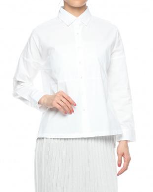 ホワイト 切替デザイン 長袖シャツを見る