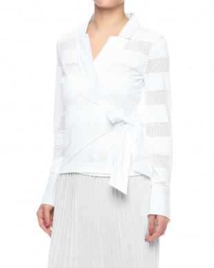 ホワイト イタリアンジャージ メッシュカシュクールシャツを見る