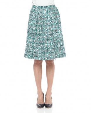 グリーン 膨れジャカードフレアスカートを見る