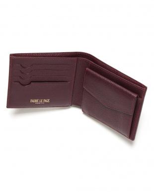 ルージュ/ボルドー  PF 4CC/MONNAIE エカイユ柄 二つ折り財布を見る