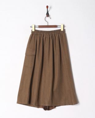 モカ リネンライクフロントプリーツスカートを見る