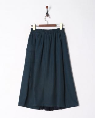 ブルー リネンライクフロントプリーツスカートを見る