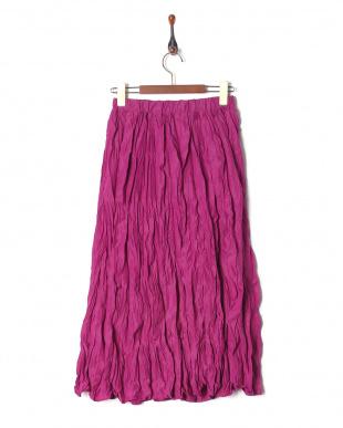 ピンク 綿ローンクリンクル加工スカートを見る