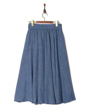 ブルー 無地リネンライクフレアースカートを見る