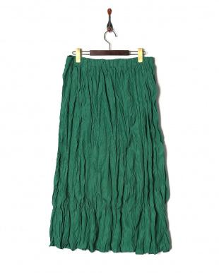 グリーン 綿ローンクリンクル加工スカートを見る