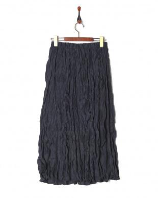 ネイビー 綿ローンクリンクル加工スカートを見る